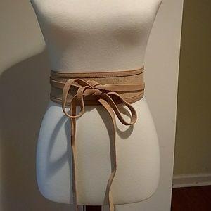 Ann Taylor Linen and Leather Kimono Belt